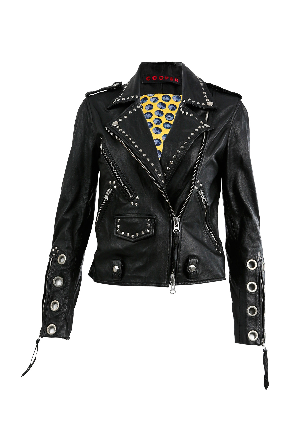 view moto of studded jacket tough in perfect front leather faux amount black the embroidered akira stud floral