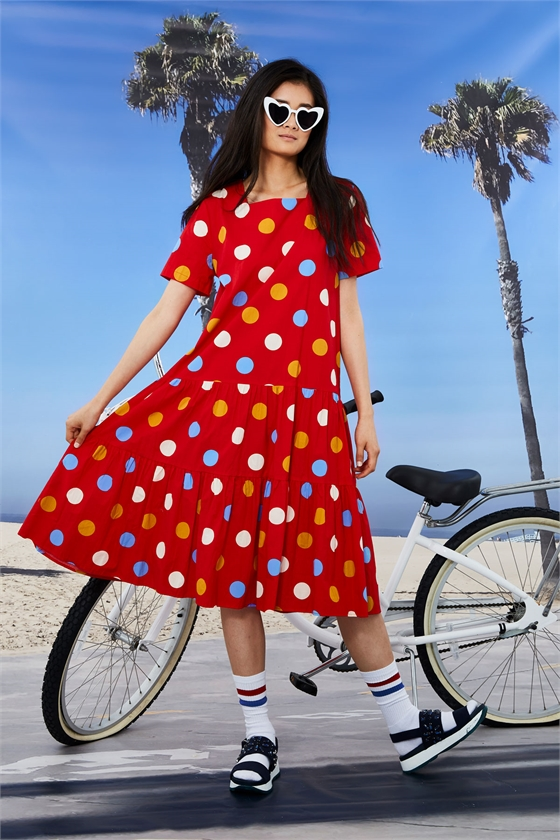 DROP WAIST POLKA DOT DRESS